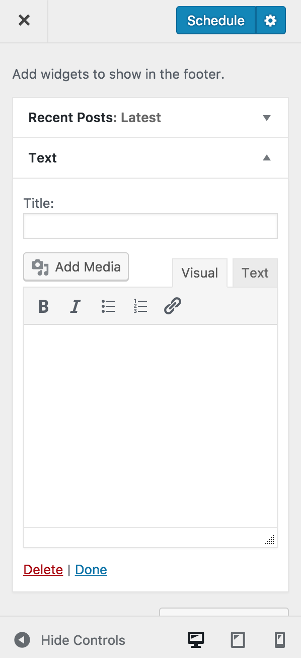 """Shortcodes & Media Support in Text Widget Text widget now comes with an """"Add Media"""" button and support for Shortcodes in WordPress 4.9. Visual Editor in text widget was introduced in WordPress 4.8. But you had to use HTML to insert the media. Now you can directly add media from your media gallery with Add Media button."""